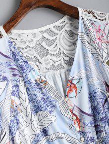 El Botones Con S Panel Vestido Floral Encaje En De Floral Maxi XTanxxqwt