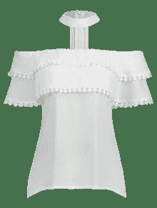 En Con Blanco Crochet Grapas Gargantilla De M Blusa 1HwzAP