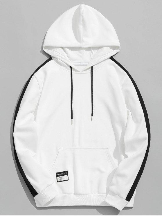 lady Badge Patched Color Block Hoodie - WHITE 4XL