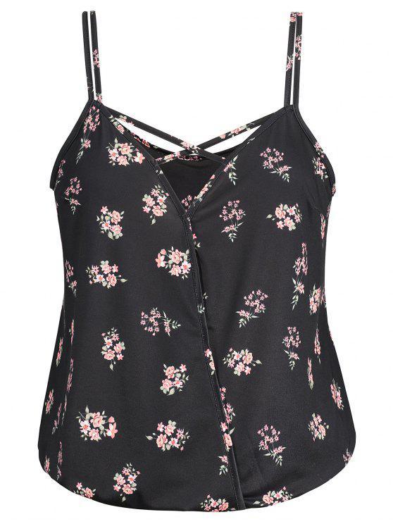 Crisscross Floral Plus Size Camis - Preto 3XL