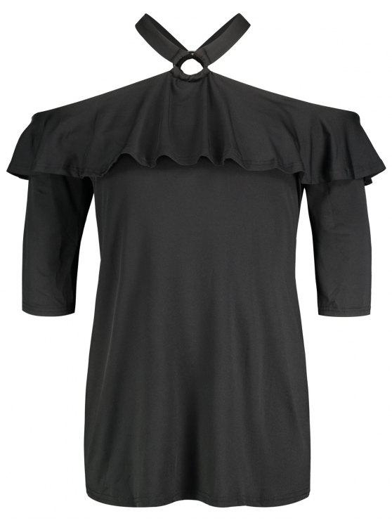 shops Cold Shoulder Ruffle Plus Size Tunic - BLACK 3XL