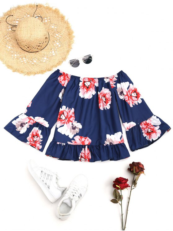 fashion Floral Ruffle Off The Shoulder Blouse - DEEP BLUE S