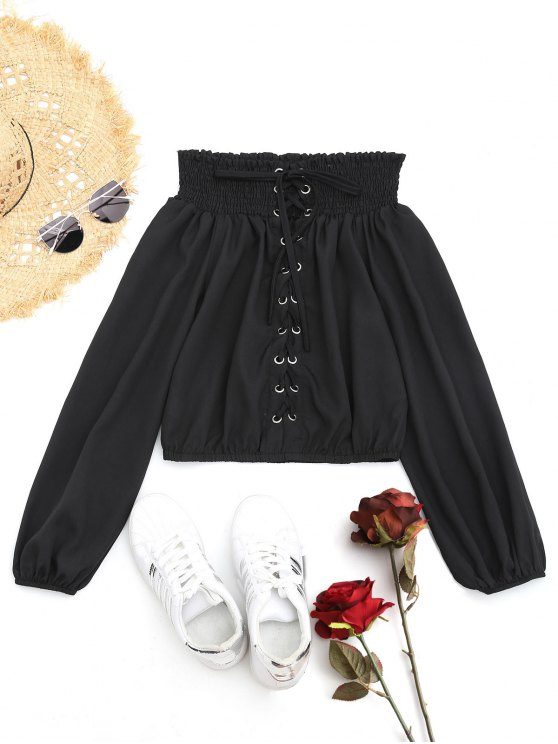 Lace-up Smocked Off The Shoulder Blouse - Preto S