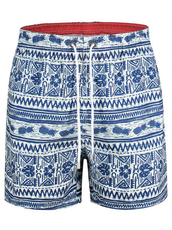 outfits Pineapple Printed Swim Trunks - BLUE XL