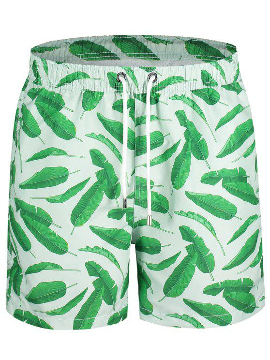 trendy Drawstring Leaf Print Swim Board Shorts - GREEN XL
