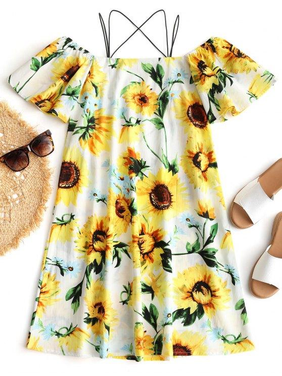 fancy Cami Sunflower Print Beach Dress - YELLOW L