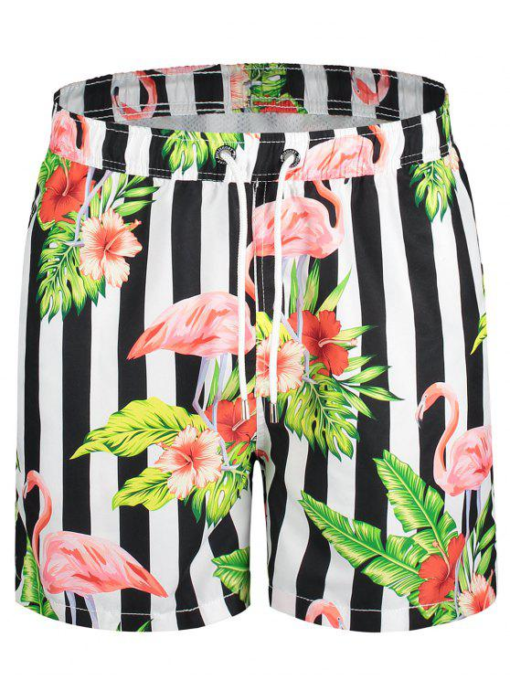 womens Drawstring Striped Floral Swim Trunks - COLORMIX L
