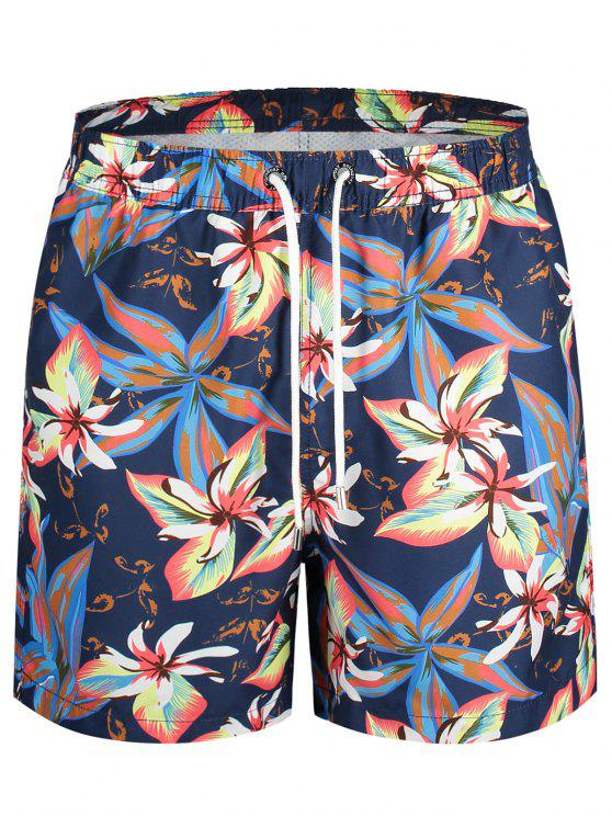 lady Drawstring Floral Swim Trunks - FLORAL L
