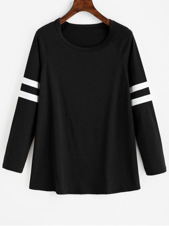 T-shirt Long Rayé à Manches Raglan - Noir S