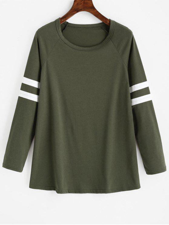 Camiseta raglán manga larga con rayas - Ejercito Verde S