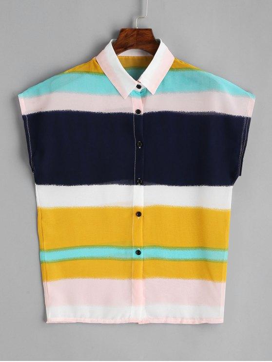 Block XL ColoriBlouses Multi In Color Camicia Manica Cap Chiffon v8nmNwO0