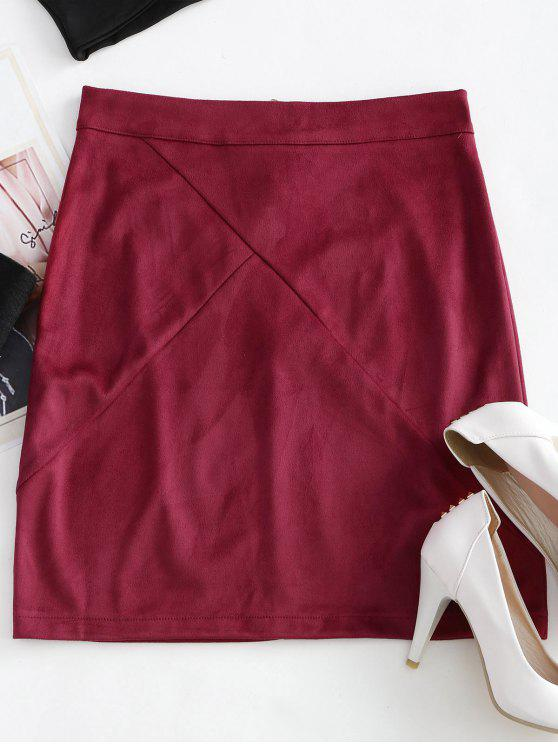 fashion Back Zipper Faux Suede Skirt - RED XL