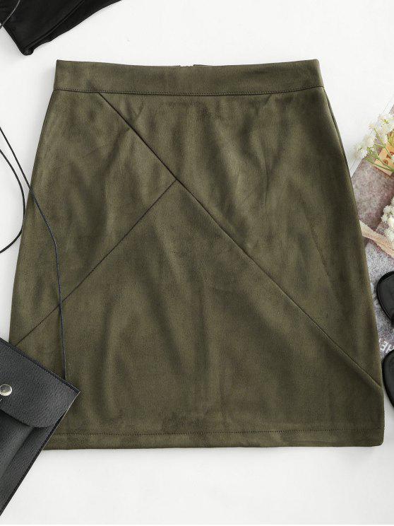 تنورة من القماش السويدي بسحاب خلفي - الجيش الأخضر XL