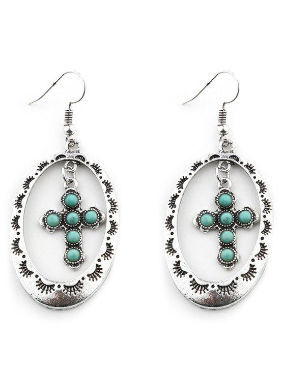 outfit Vintage Geometric Hollow Out Cross Drop Earrings - SILVER