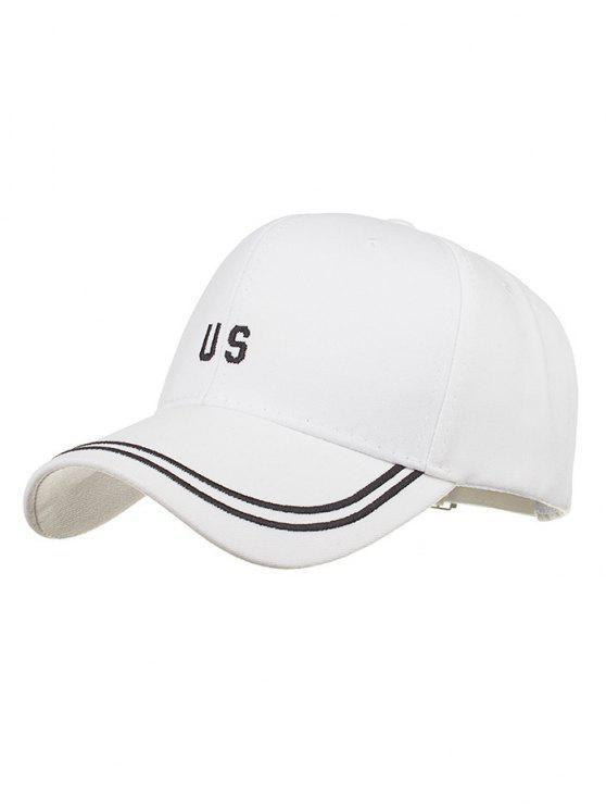 aa1e649d875 Unique US Embroidery Adjustable Baseball Cap WHITE  Hats