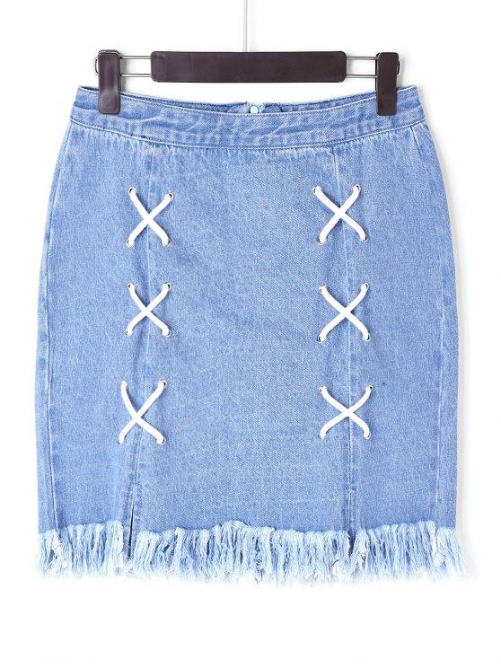 fashion Lace Up Denim Frayed Skirt - BLUE L
