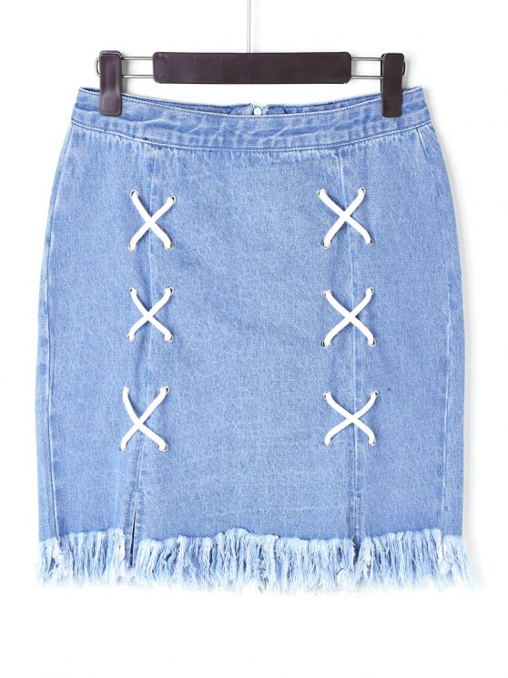 chic Lace Up Denim Frayed Skirt - BLUE XL