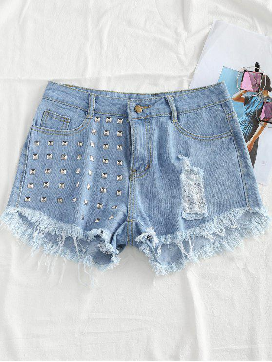 Rivet Embellished Ripped Denim Shorts - Azul claro L