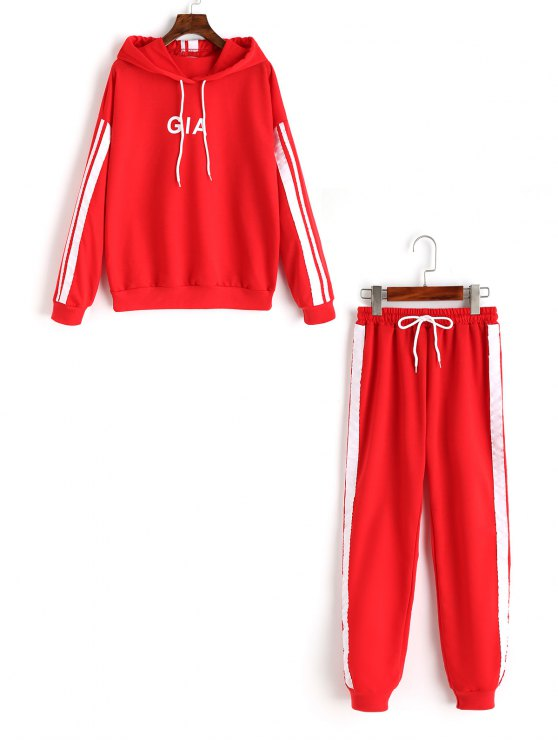 latest Ribbons Trim Letter Hoodie and Sports Pants Set - RED XL