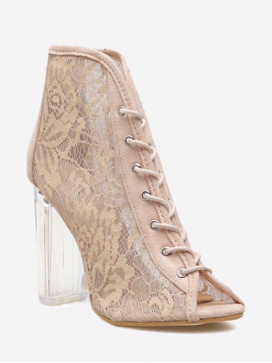 trendy Chunky Heel Lace Peep Toe Boots - APRICOT 35