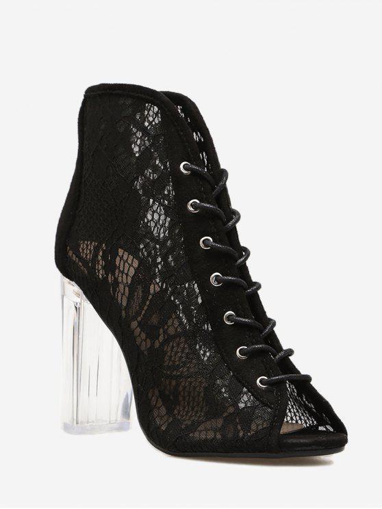 Chunky Heel Lace Peep Toe Boots - Preto 39