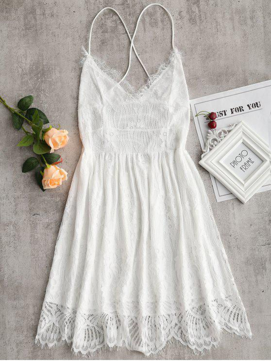 Lace Up Backless Cami Lace Dress - Branco M