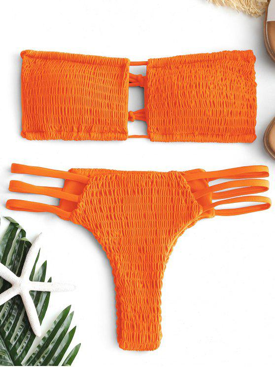Strappy Smocked Thong Bikini Set - Laranja fluorescente S