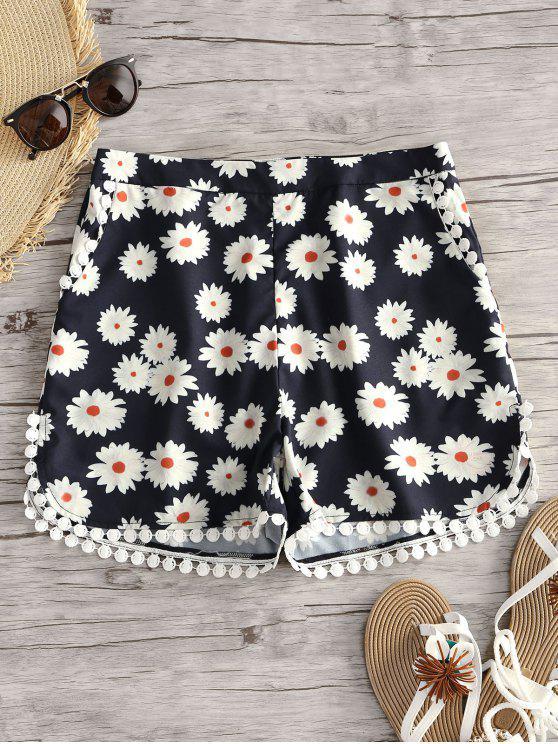 women's Floral Print Crochet Trim Shorts - FLORAL L