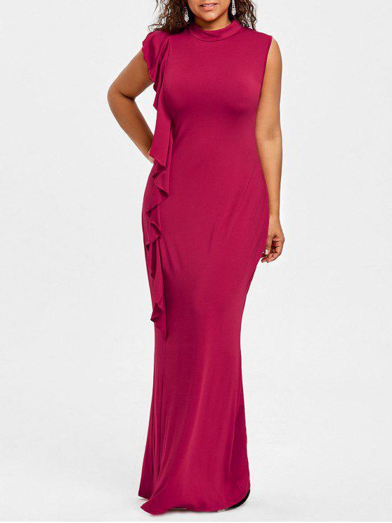 فستان الحجم الكبير موك الرقبة كشكش - نبيذ أحمر 2XL