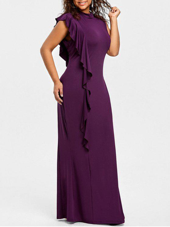 فستان الحجم الكبير موك الرقبة كشكش - ديب بيربل 2XL