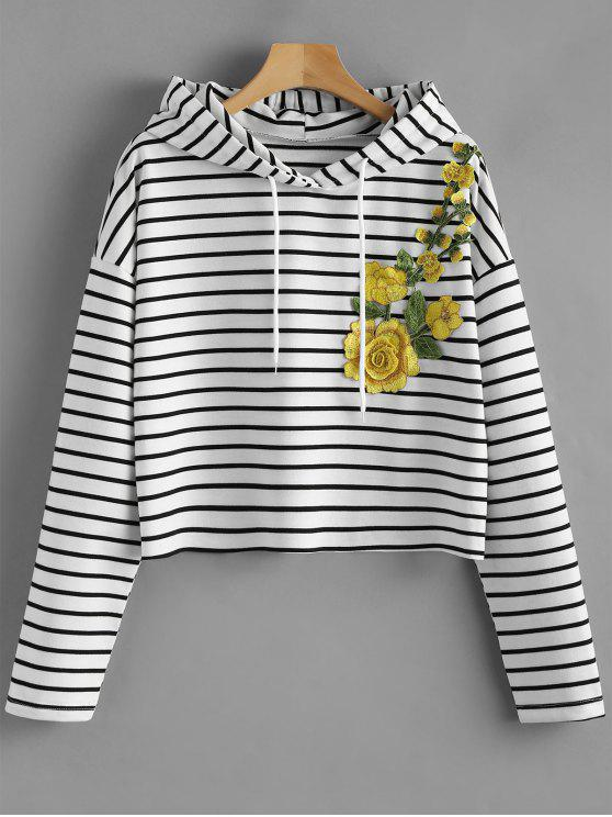 online Flower Patched Striped Drawstring Hoodie - BLACK STRIPE L