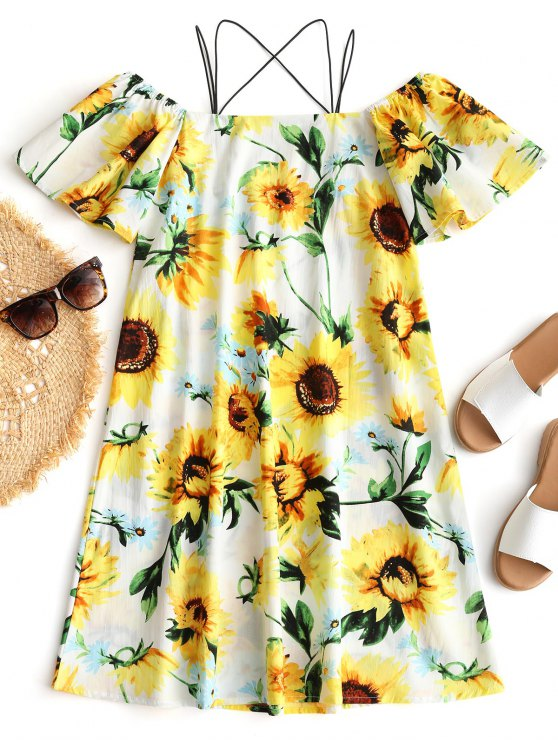 affordable Cami Sunflower Print Beach Dress - YELLOW M