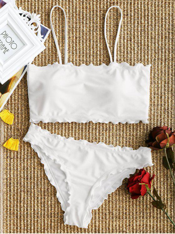 Ensemble bikini à garniture de laitue - Blanc L