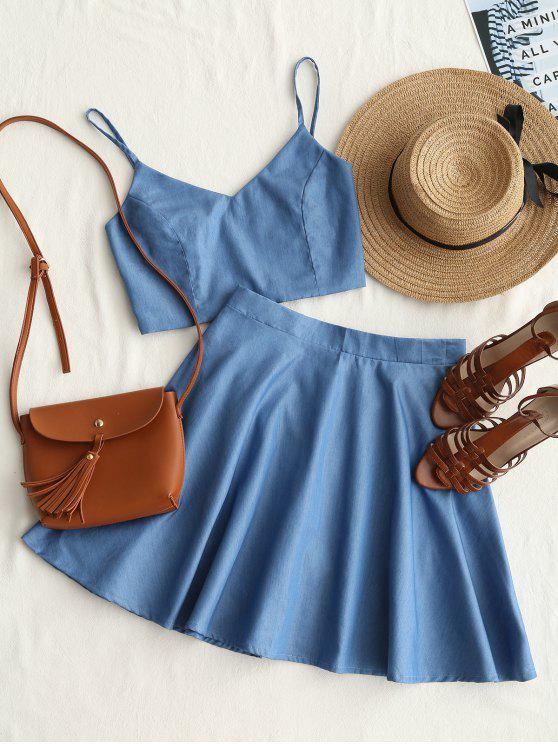 outfit Smocked Crop Cami Top and Skirt Set - DENIM BLUE M