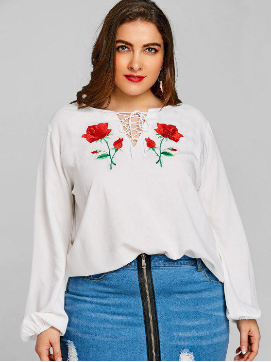 womens Floral Embroidered Lace Up Plus Size Blouse - WHITE 2XL
