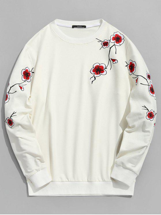 Pflaumenblüte gesticktes Sweatshirt - Kristall-Creme S