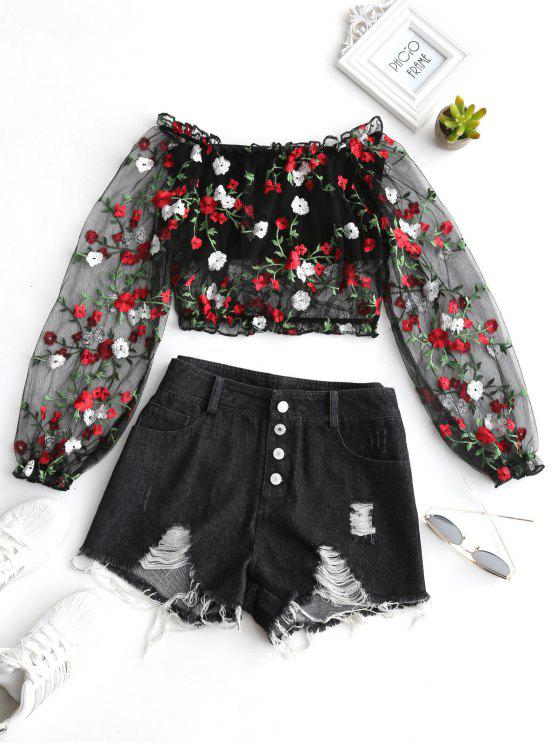 outfits Mesh Floral Embroidered Denim Shorts Set - BLACK M