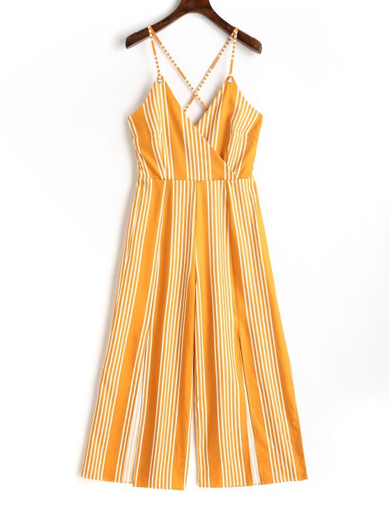 ladies Slit Criss Cross Stripes Jumpsuit - YELLOW L