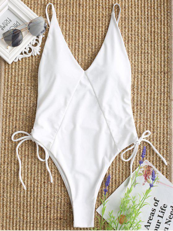 Cami High Cut Lace Up Einteilige Bademode - Weiß S