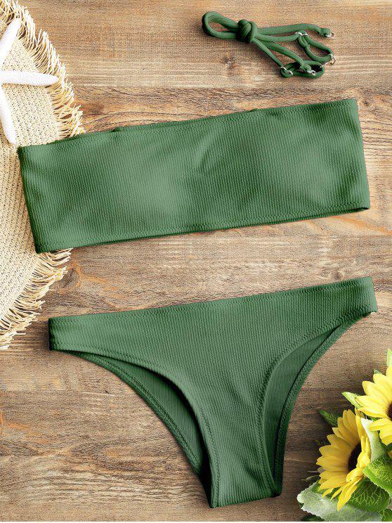 sale Ribbed Texture Bandeau Bikini Set - GREEN S