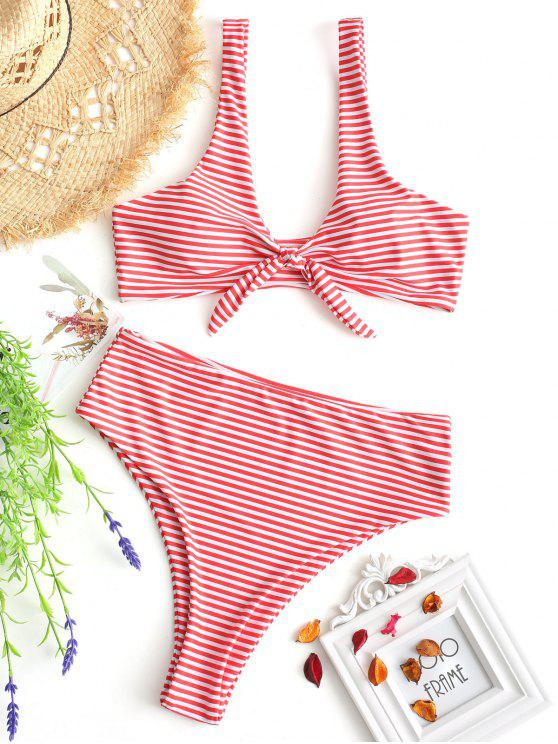 hot Knotted Striped High Cut Bikini Set - RED WITH WHITE L