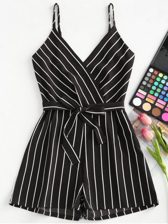 affordable Striped Cami Belted Romper - BLACK M
