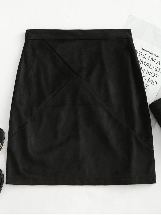 womens Back Zipper Faux Suede Skirt - BLACK M