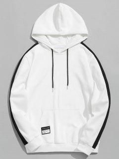 Badge Patched Color Block Hoodie - White 3xl