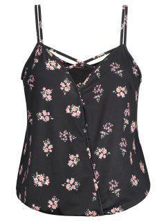 Crisscross Floral Plus Size Camis - Black Xl
