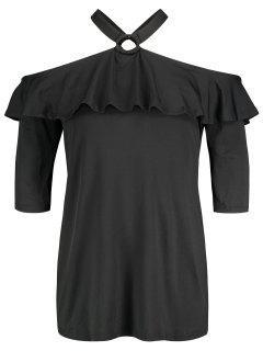 Cold Shoulder Ruffle Plus Size Tunic - Black 2xl