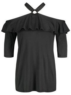 Cold Shoulder Ruffle Plus Size Tunic - Black 3xl