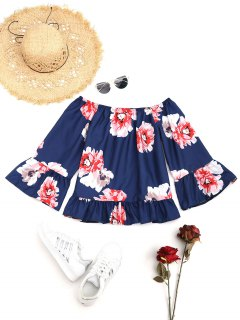 Floral Ruffle Off The Shoulder Blouse - Deep Blue M
