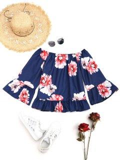 Blouse Florale Volantée à épaules Dénudées - Bleu Foncé S