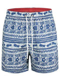 Pineapple Printed Swim Trunks - Blue L